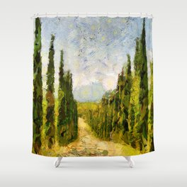 Rural landscape with cypresses Shower Curtain