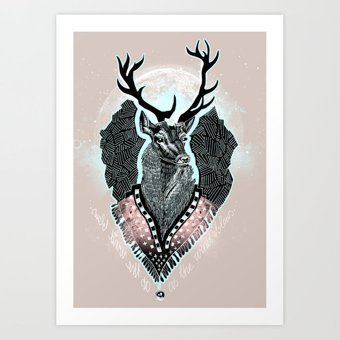 Wind:::Deer Art Print