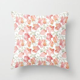 Peach pink azaleas Throw Pillow