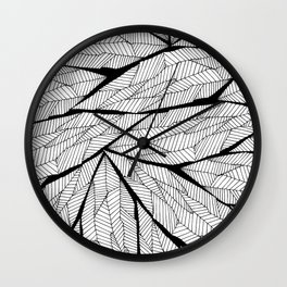 Black and White Modern Abstract Geometric Leaves Wall Clock