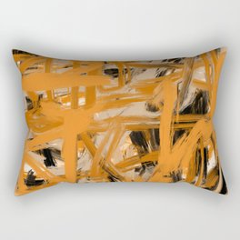 Orange & Taupe Abstract Rectangular Pillow