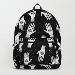 Palmistry - hand, palm, tarot, eye, witch, mystic black and white print Backpack