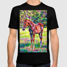Young horse in a field MEDIUM Black Mens Fitted Tee