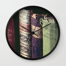 Vintage low light photography of books Wall Clock