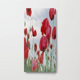 Field of Poppies Against Grey Sky Metal Print