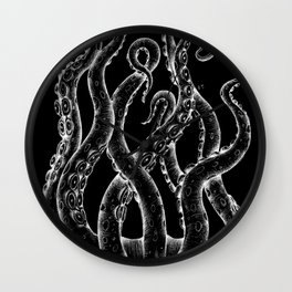 Funky White Tentacles Octopus Ink on Black Wall Clock
