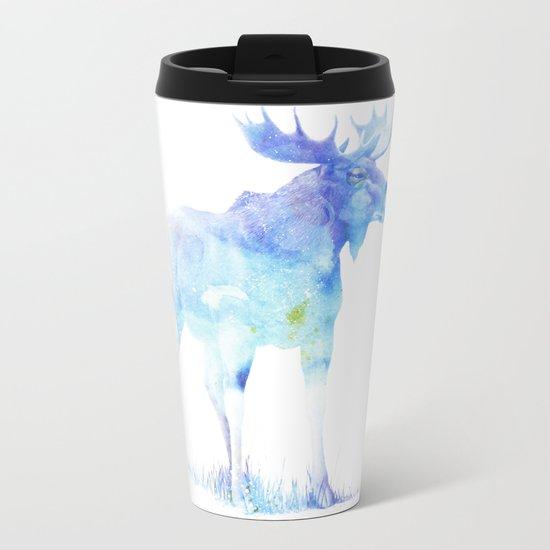 Blue Watercolor Moose Metal Travel Mug