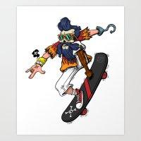 captain hook Art Prints featuring Captain Hook  by Redwane