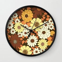 Brown, Orange, Ivory & Yellow Retro Flower Pattern Wall Clock