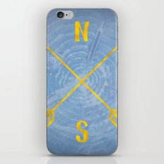 Blue Compass Map - Forest Trees North East West South Compass Black and White Blue and Gold iPhone & iPod Skin