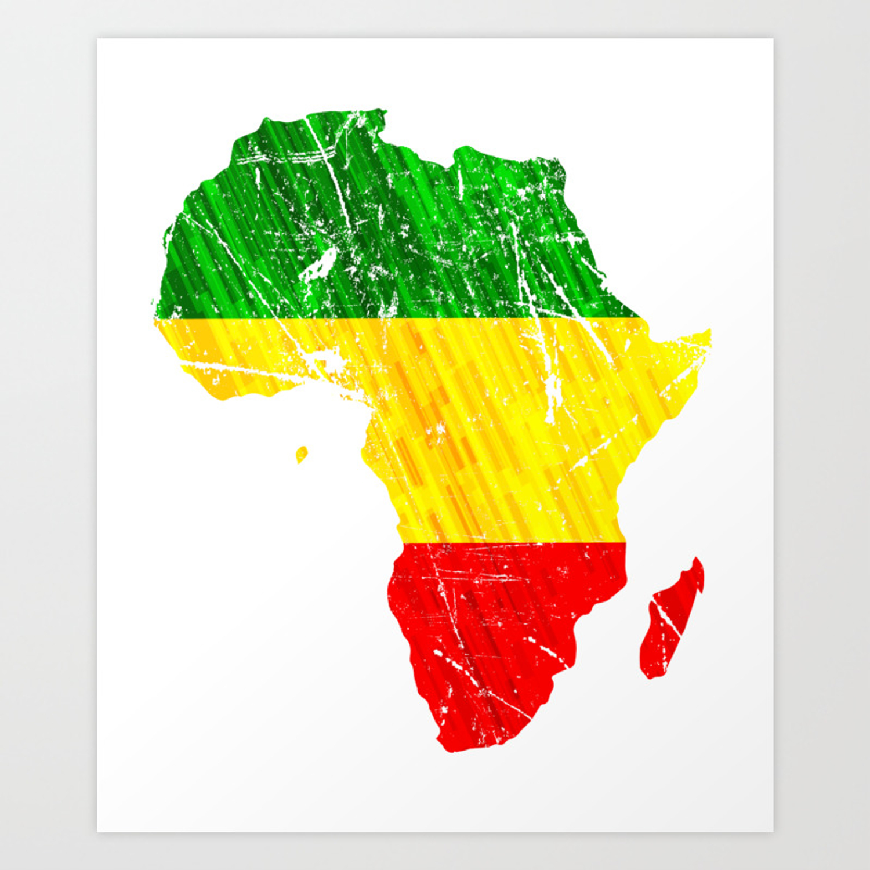 Africa map reggae rasta design green yellow red africa pride art print