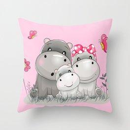 adorable hippos Throw Pillow