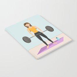 Strong Fitness Girl Deadlifting Weights Cartoon Illustration Notebook