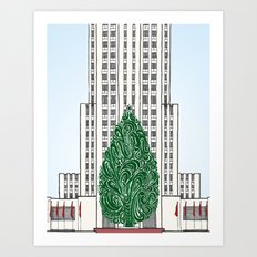 Special Edition Holiday Print: Rockefeller Center by the Downtown Doodler Art Print