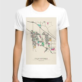 Colorful City Maps: Palm Springs, California T-shirt