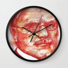 CARL JUNG watercolor portrait .6 Wall Clock