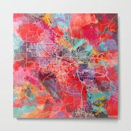 Eugene map Oregon painting 2 Metal Print