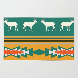 Ethnic Christmas pattern with deer Rug