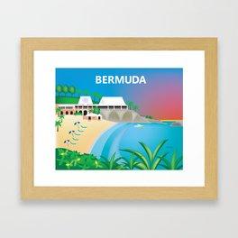 Bermuda - Skyline Illustration by Loose Petals Framed Art Print