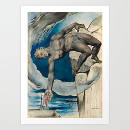 William Blake - Antaeus setting down Dante and Virgil in the Last Circle of Hell Art Print