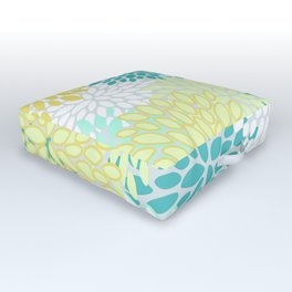 Festive Floral Prints, Teal, Turquoise and Yellow Outdoor Floor Cushion