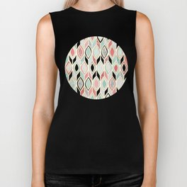 Patchwork Pattern in Coral, Mint, Black & White Biker Tank