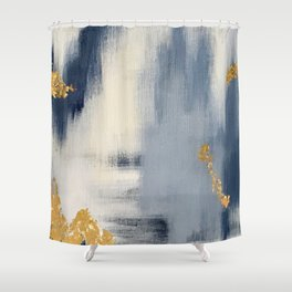 Blue and Gold Ikat Abstract Pattern #2 Shower Curtain