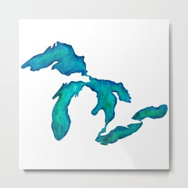 watercolor Great Lakes Metal Print