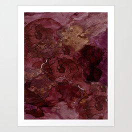 Rose, Burgundy and Merlot Watercolor Flowers Art Print