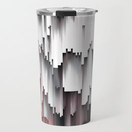 White Black Mauve Cascade Abstract Travel Mug