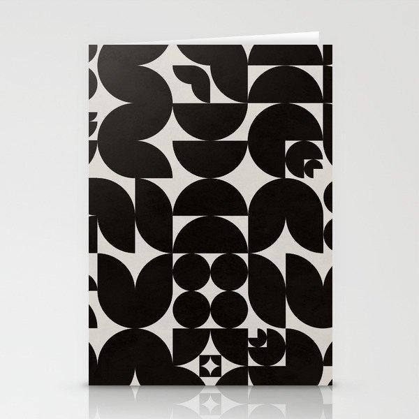 Black & White Mid Century Modern Pattern Stationery Cards