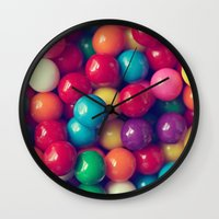 gumball Wall Clocks featuring Gumball Fun by Amelia Kay Photography