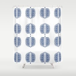 TROPICAL PALMS . WHITE + BLUE Shower Curtain