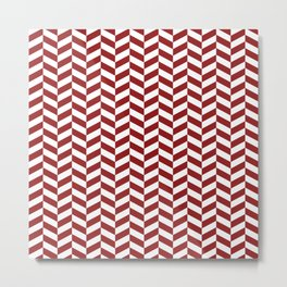 Sangria Red Herringbone Pattern Design Metal Print