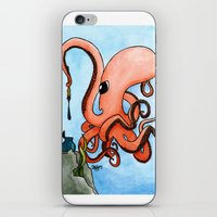 writer iPhone & iPod Skins featuring Octopus Writer by Zekis Art