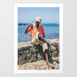 African Man Drinking Coca-Cola Art Print
