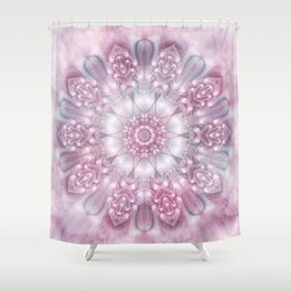 Dreams Mandala in Pink, Grey, Purple and White Shower Curtain