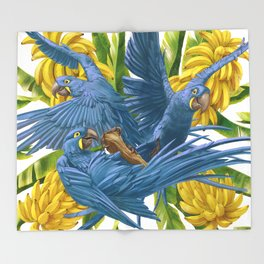Hyacinth macaws and bananas Stravaganza. Throw Blanket