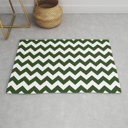 Large Dark Forest Green and White Chevron Stripe Pattern Rug
