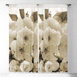 Cherry Blossoms Monochrome Blackout Curtain