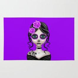 Sad Day of the Dead Girl (Purple) Rug