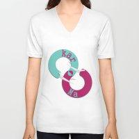 karma V-neck T-shirts featuring karma  by Daniac Design