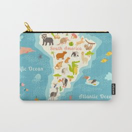 Animals world map, Sorth America. Vector illustration, preschool, baby, continents, oceans, drawn, e Carry-All Pouch