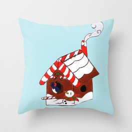 The Birdy's Christmas Cottage Throw Pillow