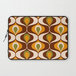 Retro 70s ovals op-art pattern brown, orange Laptop Sleeve