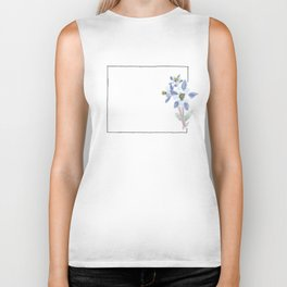 colorado // watercolor columbine state flower map Biker Tank