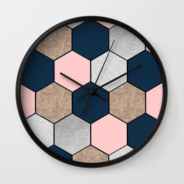 Navy and peach marble and foil hexagons Wall Clock