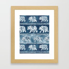 BEAR SPIRIT Indigo Watercolor California Bears Pattern Framed Art Print