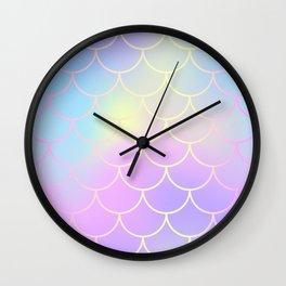 Pink Blue Mermaid Tail Abstraction Wall Clock