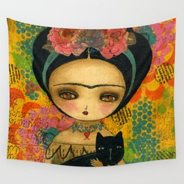 Frida And Her Cat Wall Tapestry